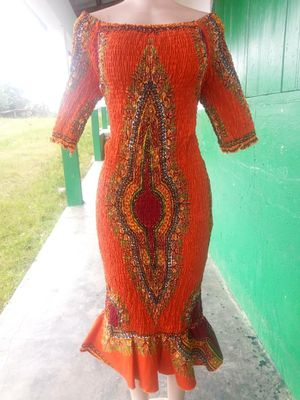 African print stretch or elastic dress - size 14 to.18 for Sale in Baltimore, MD