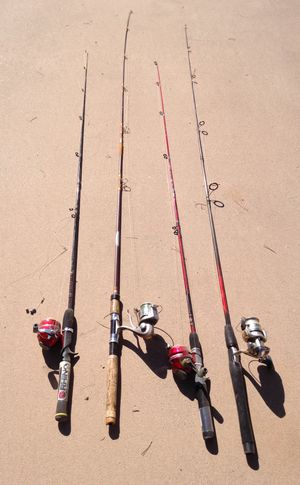 4 Fishing Rods & Reels with Plano Tackle box for Sale in Chandler, AZ
