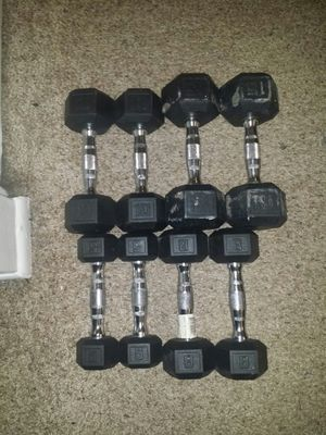 Rubber weights dumbbells with chrome handles. Pair of 15s, 10s, 8s and 5s. Price is firm! for Sale in Coconut Creek, FL