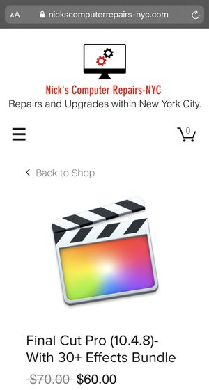 Final Cut Pro (10.4.8)-With 30+ Effects Bundle for Sale in New York, NY