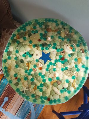 Amazing hand made small decorate table with shells for Sale in Detroit, MI