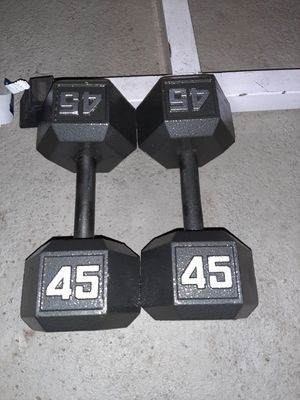 2(45) lbs. Dumbbells set. Hex dumbbell. Cast iron. New dumbbell. Weights. Weight set. Pesas for Sale in Lodi, NJ