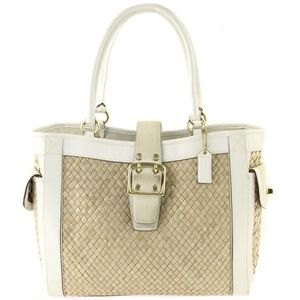 Coach | White Leather Suede Woven Straw Tote Bag for Sale in Las Vegas, NV