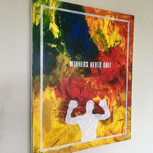 """""""Winners never quit"""" abstract positive art painting on canvas"""
