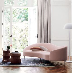 $599 - Contemporary Pink Curved Velvet Sofa for Sale in El Monte, CA