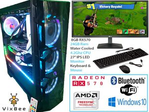 "RGB Gaming Desktop Computer Bundle With 27"" Monitor Keyboard & Mouse for Sale in Upland, CA"