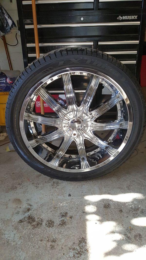 "Chevy 6 lug 24"" rim new tire Veloche Lexani chrome wheel"