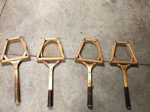 Four Antique Wood Tennis Rackets for Sale in Raleigh, NC