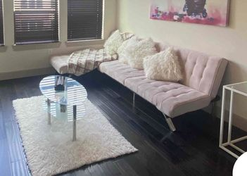 Emily Sofa Bed with Chaise, Pink Velvet Includes Coffe Table for Sale in Houston,  TX