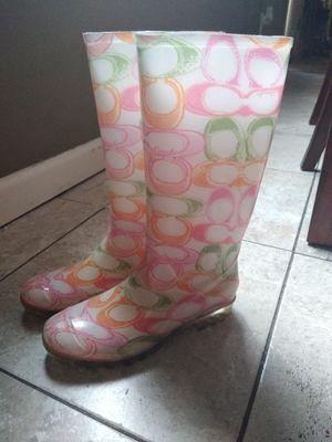 Coach rain boots size 7 for Sale in Warren, MI