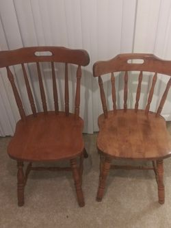 Mother Daughter Wood Desk Chairs, Sewing Chairs, Lounge Chairs, Table Chairs, Mother In Dark Oak, Daughter In Light Oak for Sale in Irvine,  CA