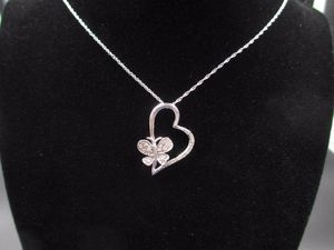 Vintage 20 Inch 925 Sterling Silver Diamond Heart & Butterfly Pendant Necklace Wedding Engagement Anniversary Gift Idea Beautiful for Sale in Lynnwood, WA