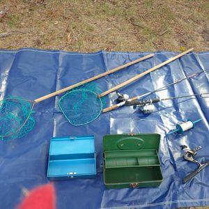 Fishing Poles, Tackle Boxes, Net for Sale in Manchester Township, NJ