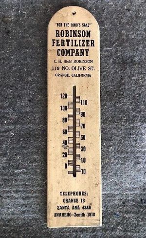 "''For The Land's Sake"" Robinson Fertilizer Company Old Advertising Thermometer.... for Sale in Atlanta, GA"
