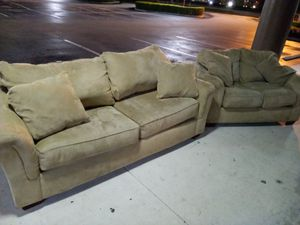 Beige polyester couch and love seat for Sale in Parkland, FL