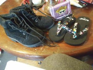 Girls boots size 11 and flip flops with monkey wallet all 4 $10 for Sale in Roanoke, VA