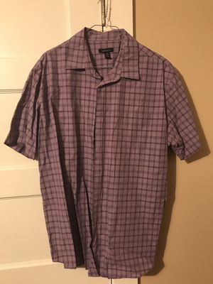 ***VAN HEUSEN SHORT SLEEVE BUTTON UP SIZE LARGE- PURPLE PLAID*** for Sale in Portland, OR