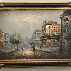 Large, Fine Oil Painting European Landscape (Artist: Burnett) In Fine Frame. Absolute Mint Condition and well-kept. Provided a close-up of the frame for Sale in Columbia, MD