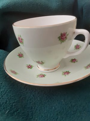 Antique Hamilton Teacup and Saucer with Pink Rosebuds, Vintage Fine Bone China for Sale in City of Industry, CA