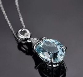 Gorgeous New Aquamarine Color Teardrop Necklace for Sale in Paramount,  CA