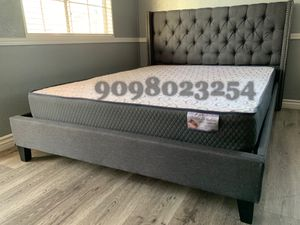 Full Gray Tufted bed w. Supreme Orthopedic Mattress Included for Sale in Fontana, CA