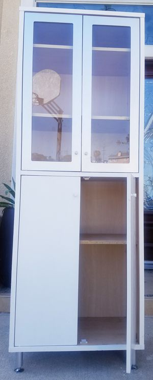 Beautiful Ikea Double Glass 2 Door White Bookcase Pantry Bath Bookshelves Display Kitchen Organizer Curio Hutch + 4 Extra Adjustable Shelves for Sale in Monterey Park, CA