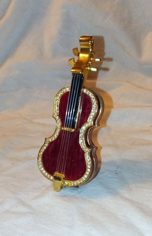 Miniature Violin Trinket Ring Jewel Box w Real Strings Crystals & Gold Detailed Accents Stand included for Sale in Largo, FL