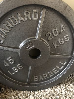 2 x 45 pound weight plates for Sale in Los Angeles, CA