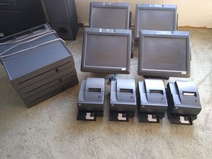 (4) NCR 7403 POS TERMINAL REALPOS TOUCH SCREEN CASH REGISTER BUSINESS INDUSTRIAL COMMERCIAL POINT OF SALE MERCHANT PAYMENT COMPLETE SYSTEM CLOVER for Sale in La Mesa, CA