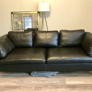 Beautiful Black/Brown Leather Couch for Sale in Seattle, WA