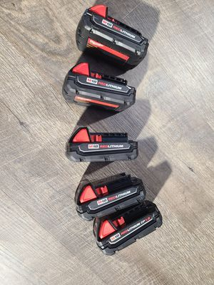 Milwaukee M18 18-Volt Lithium-Ion Compact Battery Pack 1.5Ah (5-Pack) for Sale in South Gate, CA
