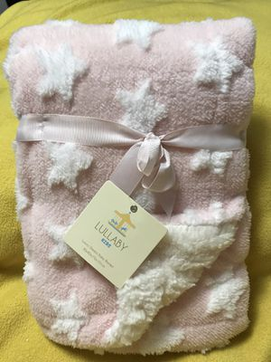 Pink With White Stars Luxury Sherpa Baby Blanket for Sale in Sioux Falls, SD