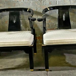 Two Black Chinoiserie Figural Chairs for Sale in Flint, MI