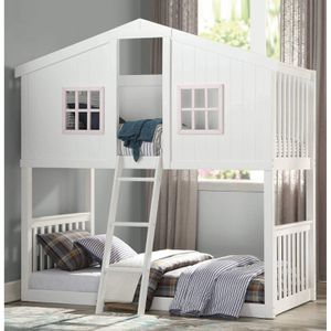 WHITE FINISH TWIN SIZE BUNK BED COTTAGE HOUSE THEME / LITERA BLANCA CASA for Sale in Riverside, CA