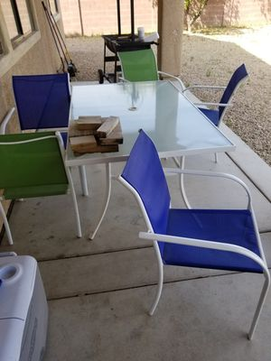 Patio table w/ glass top & 5 chairs for Sale in Tucson, AZ