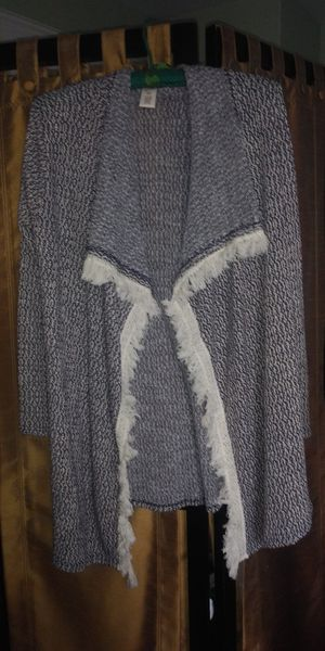 Grey Cardigan With White Fringe Trim for Sale in Norwood, PA