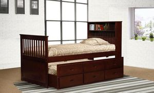 Avalon Cherry/White/Black Twin Bookcase Captain's Bed with Trundle & 3 Storage Drawers | 9063 MYCO for Sale in Houston, TX