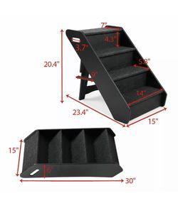 Dog Pet Stairs 4 Steps Folding Climb Ladder Pet Puppy Stairs for Couch - Black for Sale in Fresno,  CA