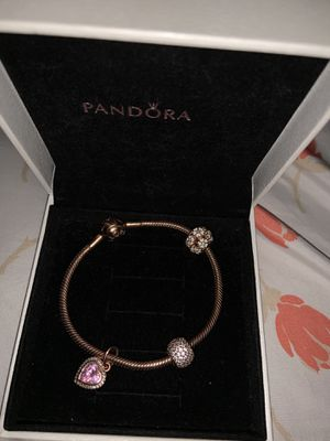 Rose gold pandora bracelet with charms for Sale in Davenport, FL