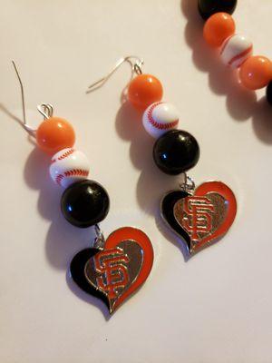 Handmade San Francisco giants bracelet and earrings set for Sale in Salinas, CA