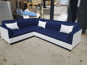 NEW 7X9FT DOMINO NAVY FABRIC COMBO SECTIONAL COUCHES for Sale in Victorville, CA