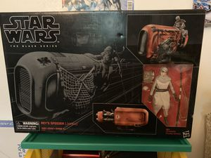 Star Wars Black Series 6-inch Rey's Speeder w/ Rey Action Figure (Deluxe Set) for Sale in Clovis, CA