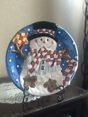 Ceramic Snowman plate Christmas decoration for Sale in San Jose, CA