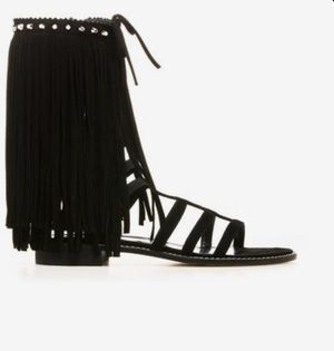 Stuart Weitzman black suede fringe gladiator sandals for Sale in SUNNY ISL BCH, FL