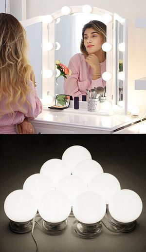 New in box $20 DIY Vanity Mirror Kit 10pcs Dimmable LED Light Bulb Makeup Dressing Table (USB Connection) for Sale in Whittier, CA