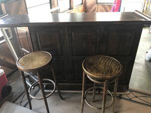 Vintage Ethan Allen bar and 2 bar stools for Sale in Denver, CO