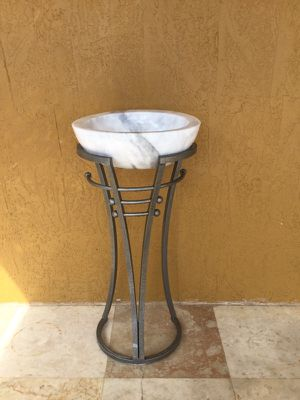 Beautiful Custom Thick + Heavy Carrera Mable Vessel Sink Polished Natural Stone with Finished Iron Pedestal for Sale in Hialeah, FL