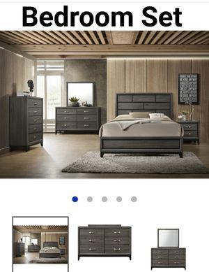 Queen 4 Pcs Bedroom set, grey color for Sale in Las Vegas, NV
