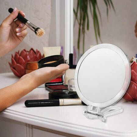 Double Sided 1X & 10X Magnifying Makeup Mirror, High Definition Magnified Vanity Mirror with Adjustable Handle, Portable, Multi-use, Transparent & Ro