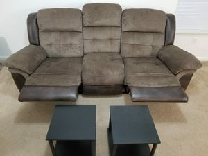 Recliner sofa + 2 complimentary side tables for Sale in Virginia Beach, VA